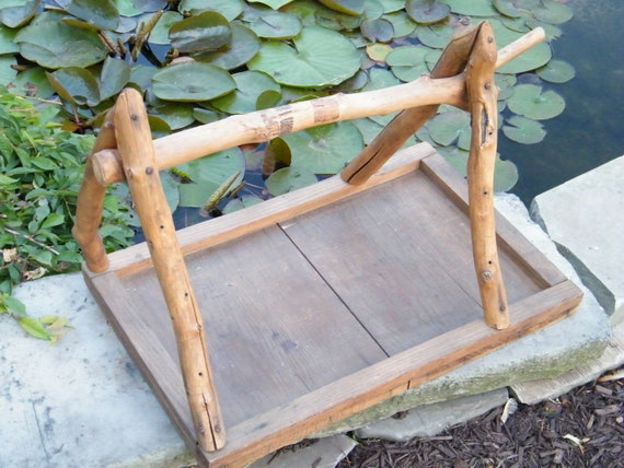 Tray Handmade Reclaimed Wood Natural Twig Handle Entertaining Storage Garden