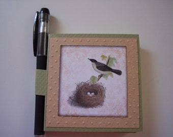 Bird and Nest Post it note holder with gel pen