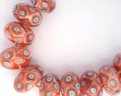 Lampwork glass beads pink, blue and orange dotty bead set SRA P97