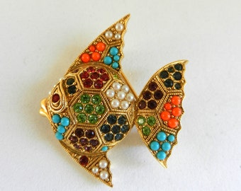 Magnificent 1950s multicolored  brooch -Tropical golden fish with beautiful mosaic of crystals, stones and pearls-art.725/2-