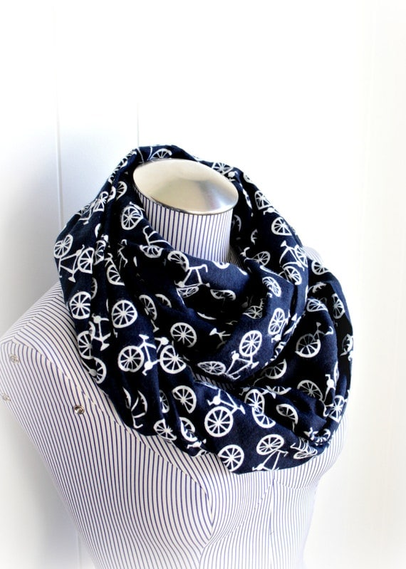 Navy and White Bike Infinity Scarf, Flannel Bicycle Pattern