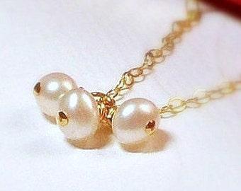 "Pearl Cluster Necklace - 14K Goldfilled - ""Dolce"" Necklace......."