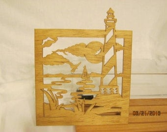 LIGHTHOUSE  CAPE HATTERAS Scroll Saw Plaque
