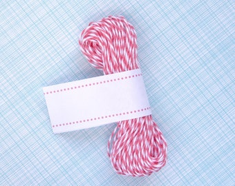 Strawberry Pink Bakers Twine - Pink and White Striped Twine (15 yards)