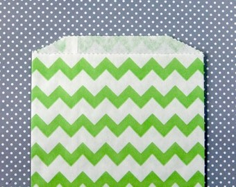 Green Chevron Goody Bags / Favor Bags / Treat Bags (20) - 5 x 7.5 inches - Midi Size