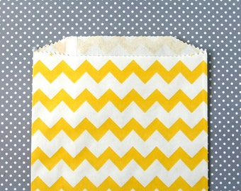 Yellow Chevron Goody Bags / Favor Bags / Treat Bags (20) - 5 x 7.5 inches - Midi Size