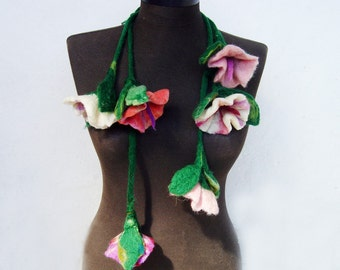 felted flowers cluster eco friendly statement necklace lariat