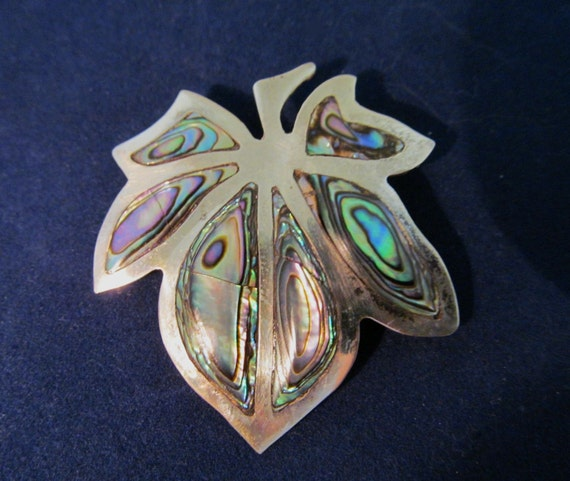 Silver Mexican Pin Inlaid Abalone Leaf