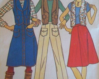 Sale -Vintage - Vest - Skirt - Pants - Simplicity 7324 - Young Junior/Teens  - Size 13/14 & 15/16 - Bust 33 1/2