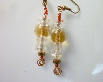 Soda or Beer in Glass with straw--Unique Lampwork Glass Bead Earrings