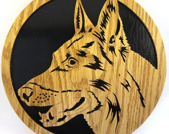 German Shepherd wall plaque scroll saw cut--50df