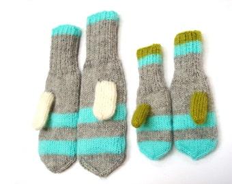 Mitten set, kids, women, holiday gift,  green gloves, winter fashion
