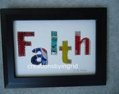 Soda Pop Can - FAITH  -Letter Collage - Original - Inspirational -  Mixed Media - Wedding Anniversary