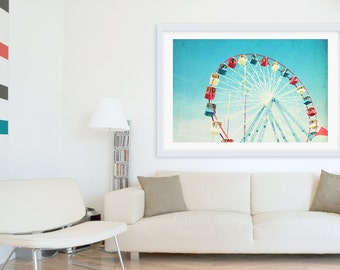 Oversized Art // Ferris Wheel Photography // Large Wall Art // Nursery Decor // Large Scale Prints - Jersey Shore Boardwalk Ferris Wheel