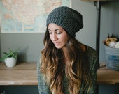 women's slouchy hat, women's slouch hat, men's slouchy hat women's beanie gray hat wool hat winter hat