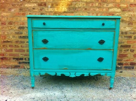 Antique Distressed Dresser In Turquoise