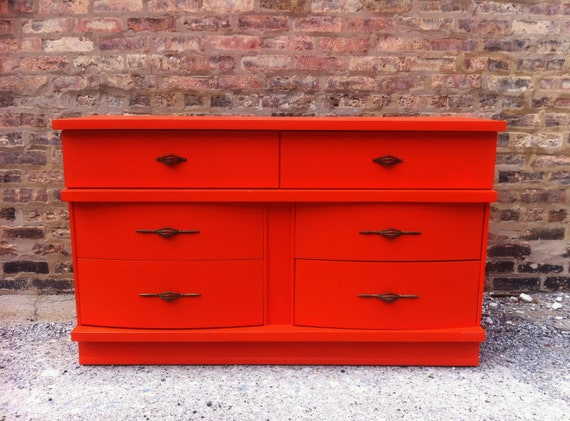 Vintage Modern Dresser In Tangerine