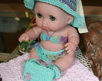 PDF PATTERN Crochet 8 8.5 inch Berenguer Doll Thread Swimsuit Beach Set