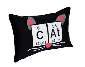 Periodic Table Cat Pillow - Chemical Elements, Ears, Nose and Whiskers Applique and Embroidered