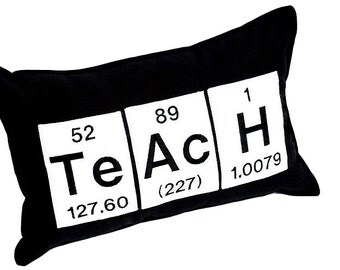 Periodic Table Element Teach Black Pillow