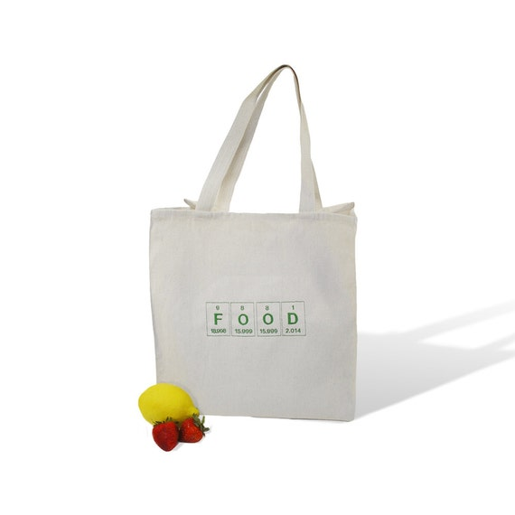 Grocery tote - Periodic Table spelling Food - Natural Canvas Grocery Reusable Tote