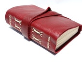 Handmade Leather Journal for the Writer or Artist - Ruby Red Sketchbook by Wee Bindery
