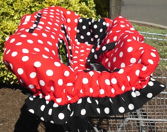 MINNIE MOUSE THEME Red and Black w/ White Polka Dots w/ Ruffle Fully Padded Boutique Shopping Cart Cover - Pink Dots and Zebra Available