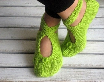 Flashy Green, Neon Green, Wool Ballerina Slippers, Christmas Gift