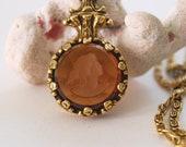 Vintage Intaglio Reverse Carved Brown Glass Pendant Necklace