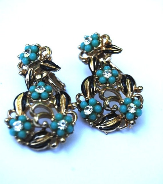 Vintage Coro signed, Turquoise and Black Enamel Flower with Rhinestone Dangle Earrings