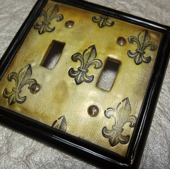 Fleur De Lis Switch Plate Cover Double Toggle By Youngcreative