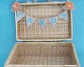 """Special order for smrudman412 - Burlap Wedding """"CARD"""" bunting, Tiffany blue, peach rose -  G112 rustic wedding decor accessory"""