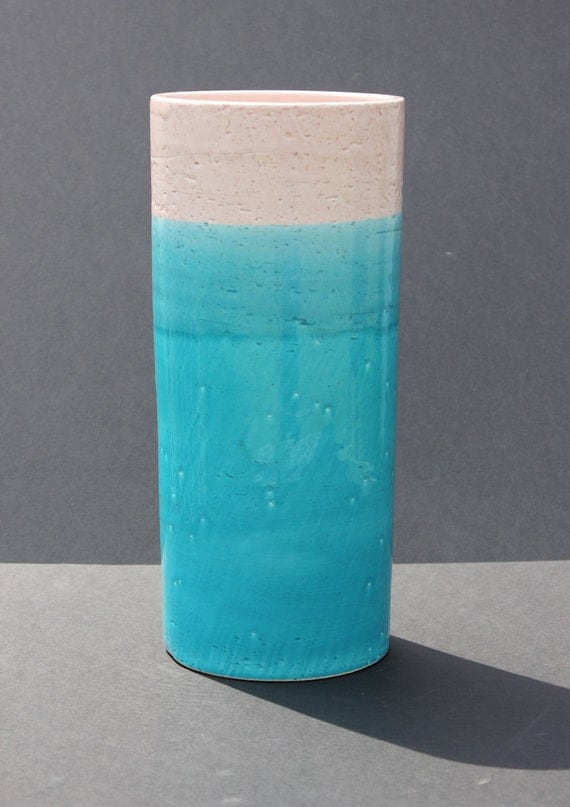 Vintage Mid Century Modern Italian Italy Pottery Vase Turquoise with Pink Band