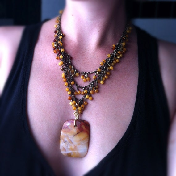 sangria- Agate, Baltic Amber & Carnelian Statement Necklace