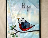 Quilted Wallhanging Bluebird of Hope Art Quilt