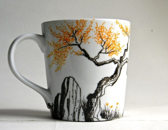 Mug - Hand painted porcelain coffee cup  -  Fall trees with orange leaves