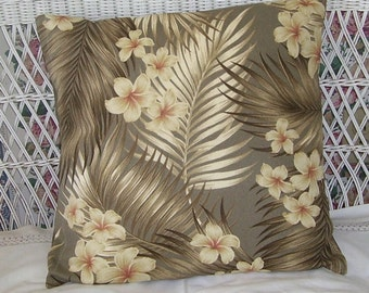 Hawaiian Bark Cloth Floral Designer Pillow 18 Inches. White Olive Green, Beach , Cottage ,Home Decor