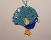 Handpainted Porcelain Peacock Ornament