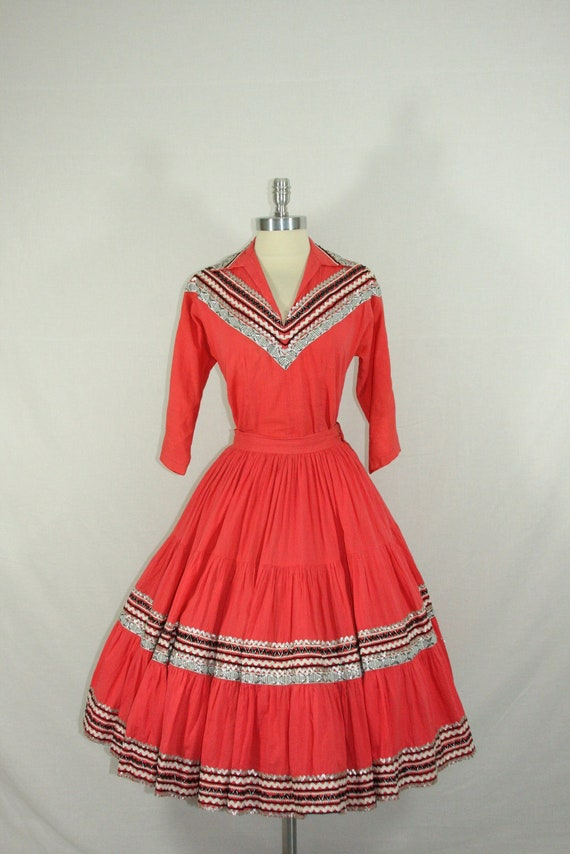 1950s Vintage Patio Dress Outfit - Resort Wear Tuscon Arizona - Deep Coral Cotton Voile Circle Skirt and Top