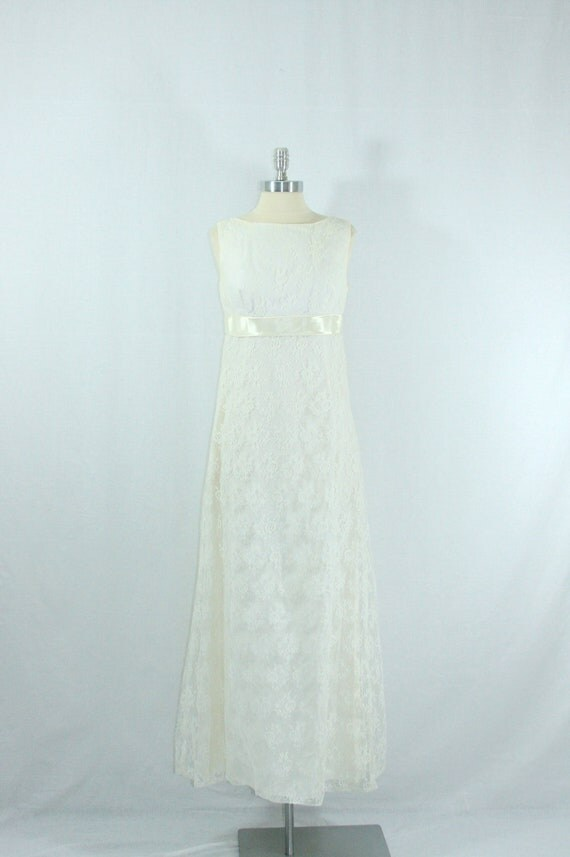 1960s Wedding Dress -  White Floor Length Empire Waist Lace Gown