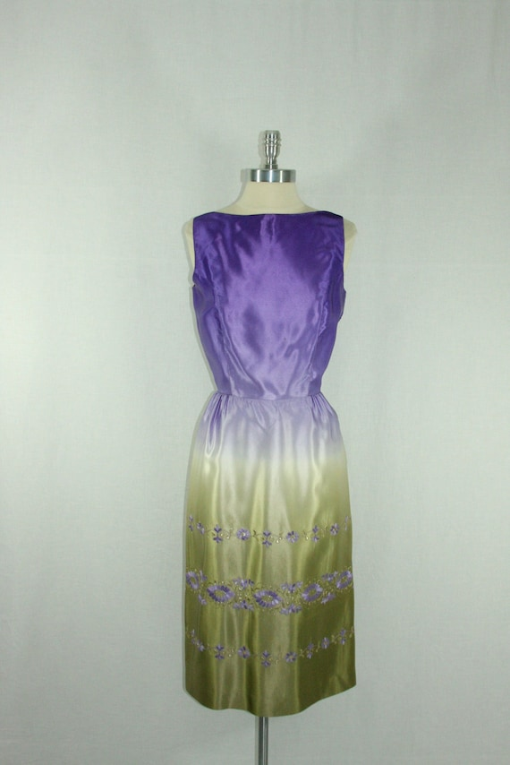 Reserved.....1960's Vintage Dress -  Purple and Green Ombre Gradient Sleeveless Low Square Back Silk Cocktail Party Frock
