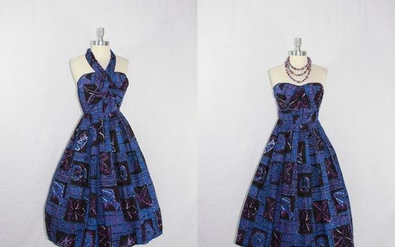 1950s Convertible Halter Vintage Dress - Blue and Purple Sea Creature Rockabilly VLV Frock