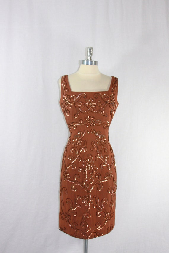 1950s Vintage Party Dress - Warm Nutmeg Sleeveless Sequin Cocktail Party Frock