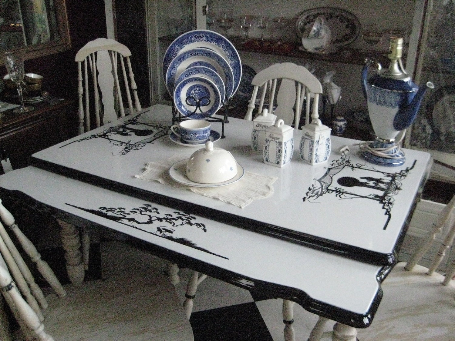 1930 S Enamel Top Country Kitchen Table Chairs Set