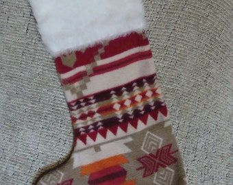 Native American Christmas Stocking - Red and Tan