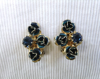 Vintage Earrings Clip On Stamped Austria Blue Flowers and Stones Gold Tone Costume Jewelry