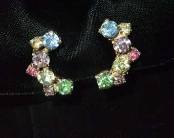 Vintage Earrings Clip On Rhinestones Blue Yellow Purple Pink Green Pastel Gold Tone Costume Jewelry