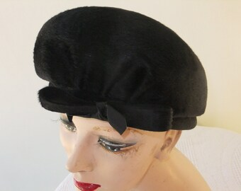 Vintage Hat Black Helio Italy French Room Design with Bow Retro Accessories