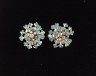 Vintage Earrings Clip On Iridescent Bead and Rhinestone Formal Costume Jewelry Sparkly Wedding Prom Snowflake
