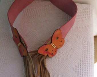 Vintage Belt Suede Leather Pink with Tan Beige Fringed Ties and Orange Butterflies Hippie Bohemian
